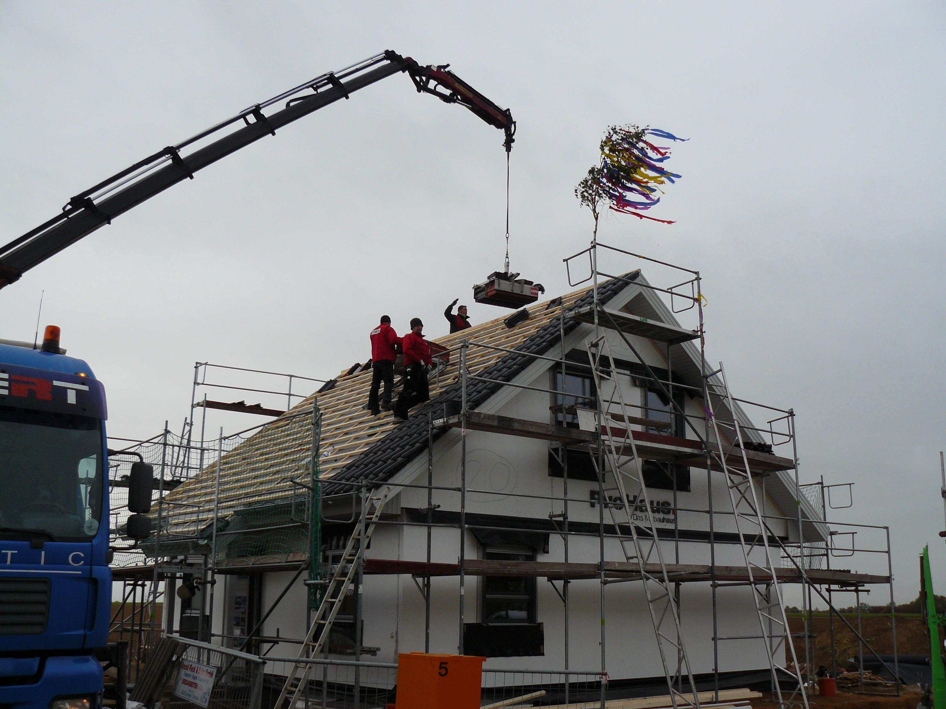 Heute wird das Dach gedeckt