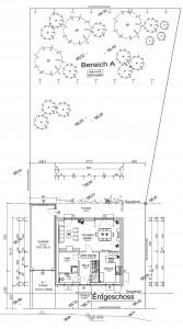 Grundstück mit Maße, Haus, Garage, Terasse, Auffahrt und Garten