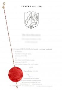 Deckblatt Urschrift Notarvertrag