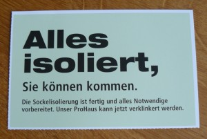 "Postkarte ""Alles isoliert"" an ProHaus"